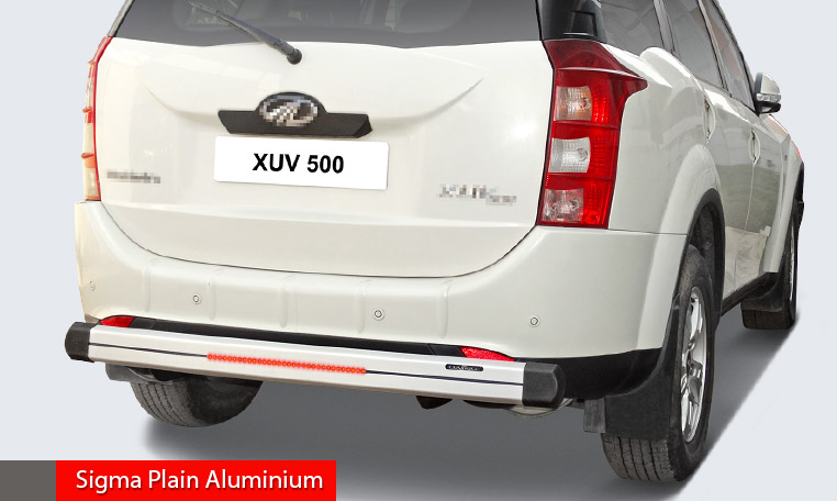 High grade aluminium rear guard with inbuilt led and corners simple design for simple looks and protection.